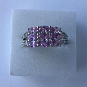 Stamped925(sterling silver)natural pink topaz SZ11